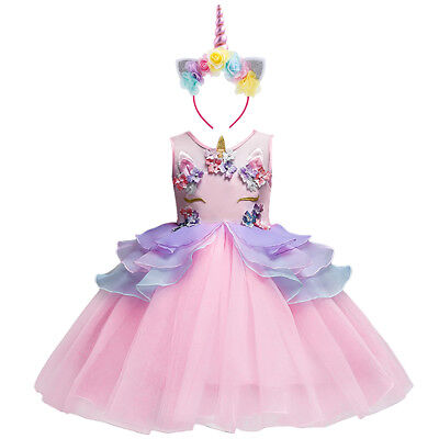 Flower Girl Unicorn Dress Tutu Princess Cosplay Costumes for Kid Birthday Party