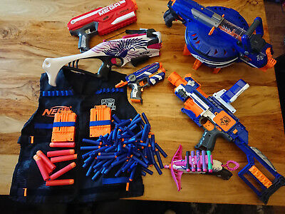 Nerf Gun Bundle - Job lot of six guns, tactical vest and bullets