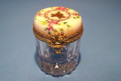 FRENCH CRYSTAL, LIGHT BLUE ,GOLD FLOWER , authentic FRENCH LIMOGES BOX ( NEW )