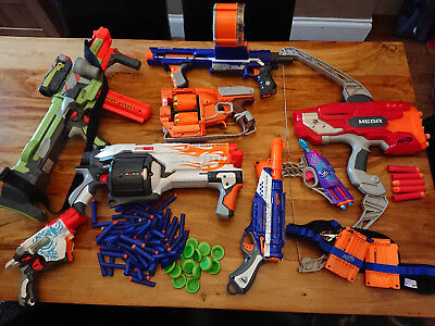 Nerf Gun Bundle - Job lot of eight guns, tactical belt and bullets