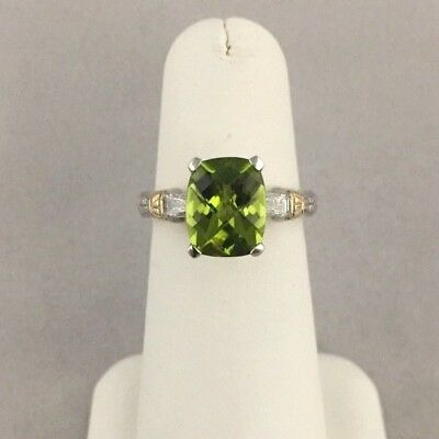 """the Best"" 14K White Gold Ladies Peridot & Diamond Engagement Promise Ring"