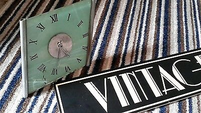 Vintage Art deco style chrome and glass Clock
