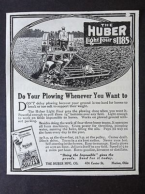 Vintage Ad 1918 (Xx37)~The Huber Light Four Tractor. Marion, Ohio.