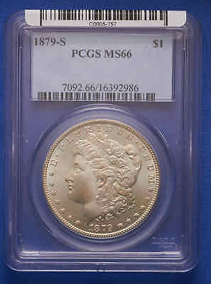 1879-S Morgan Silver Dollar PCGS MS 66 Old Blue Tag. P.Q.