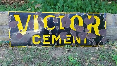 """""""VICTOR CEMENT"""" Original 1930s Metal Sign* Heavy=10 Pounds* 42"""" x 15"""" VHTF@@"""
