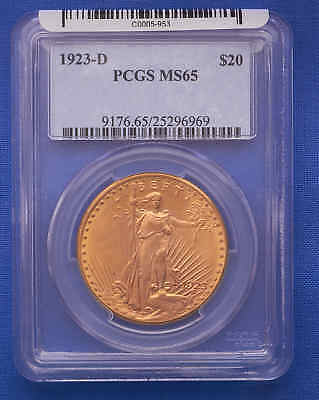 1923-D $20 St. Gaudens Double Eagle Gold Coin PCGS MS 65 Flashy!