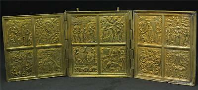 Large Antique Russian Tri-Fold Bronze Travel Icon Triptychon Skladen c.1890