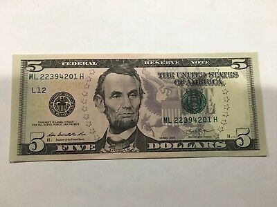 NEW Uncirculated $5  Dollar Bill Note  Series 2013