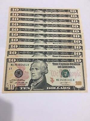 10 --$10 dollar bills (Total $100) 2013 uncirculated us currency