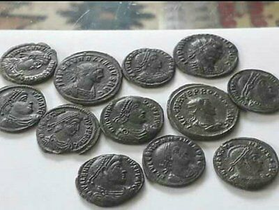 Beautiful Lot Of 12 Ancient Bronze Roman Coins Cleaned