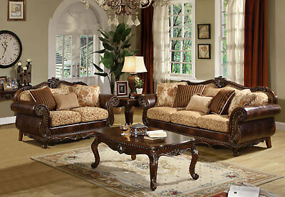 Lugano Traditional Living Room Couch Set Brown Wood Trim Fabric Sofa Loveseat