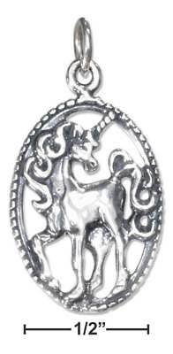 Genuine .925 Sterling Silver Antiqued Unicorn Charm In Oval Pendant