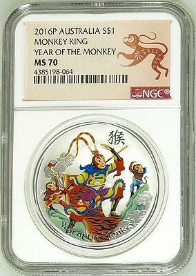 2016 P Australia COLORIZED Silver Lunar Year of Monkey KING NGC MS70 1oz Coin