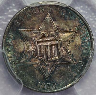 1859 Three Cent Silver PCGS MS64 - Toned Gem! *DoubleJCoins* 598A2