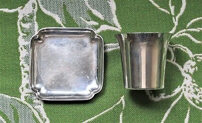 2 Vintage Cartier Sterling Collectibles Pin Tray & Shot Glass Signed & Stamped