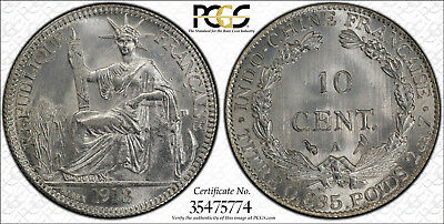 1913-A French Indo-China 10 Cents PCGS MS-65 GEM BU Brilliant Uncirculated!!!