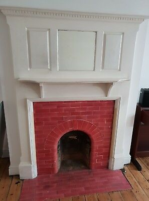 Vintage solid wood Fire Surround with mirror. Possibly 1930