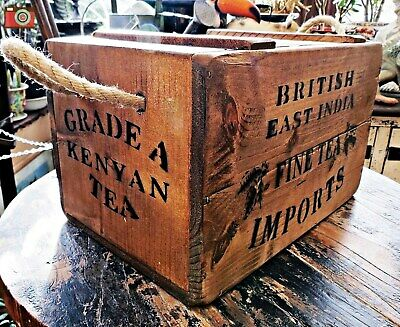 A Vintage Antique Style British East India Tea Crate, Box, Chest. Many Uses.