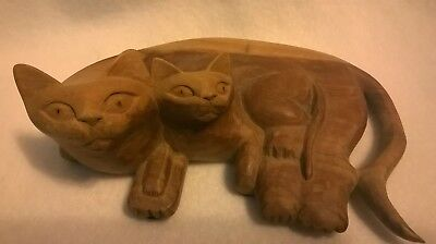 Vintage Hand Carved Wooden Mother Cat With Kitten