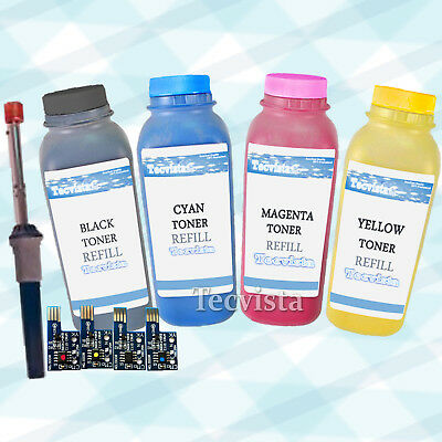 1 Set of 4 Color Toner Refill Kit W/ CHIPS for Dell 1320c 1320