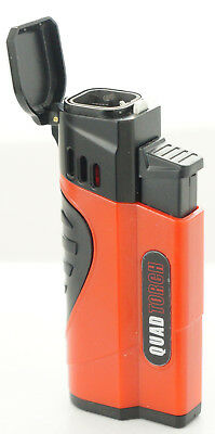 Quad Jet Torch Lighter Butane Refillable Windproof Flame w/ Cigar Puncher 432QS
