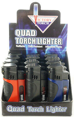 (12) Quad Jet Torch Lighter Butane Refillable Windproof Flame w/ Cigar Puncher S