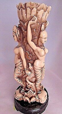 Vintage Hand Carved Asian Resin Vase w Three Ladies Figurine Ivory Color 10.5""