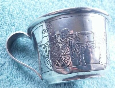R. BLACKINTON Sterling Child's Cup 64g 19th Cent. Etched Childhood Scene #218
