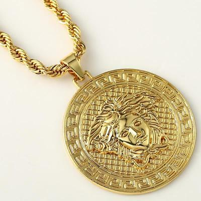 Medusa Pendant 18k Gold Plated Chain Necklace Shiny Iced Bling Icy