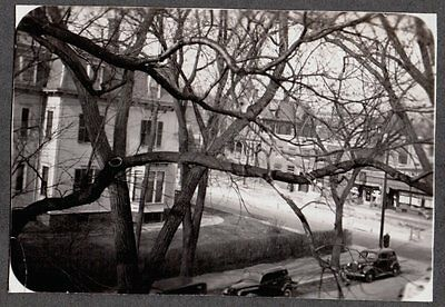Vintage Photograph 1938-1940 Providence Rhode Island Street View Old Car Photo