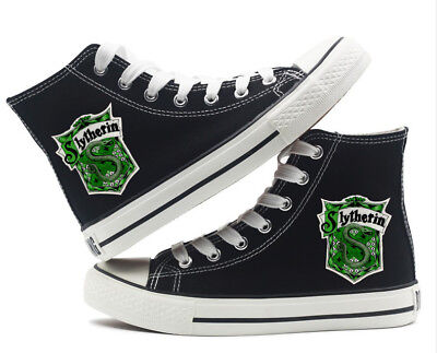 Harry Potter Slytherin Snake Canvas Shoes High Top Flat Unisex Black Causal Shoe
