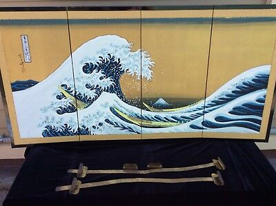 """VTG Japanese Byobu Screen Hand Painted Signed  iconic image """" The Great Wave"""""""
