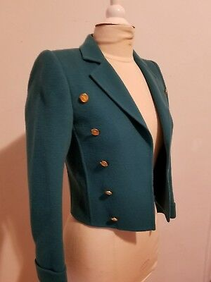 60/70's Yves Saint Laurent Vintage Skirt and Jacket Teal Suit Set