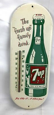 7 Up Bottle Thermometer Advertising Sign Seven-up Fresh Up Family Vintage 1950's