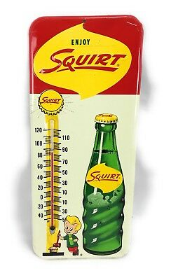 Enjoy Squirt Soda Bottle Lil' Squirt Boy Thermometer Sign Vintage 1961 MT 13