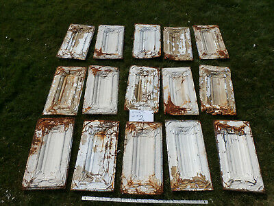 "Reclaimed 12' x 24"" Antique Tin Ceiling Tiles / Tile Lot for Arts and Crafts"