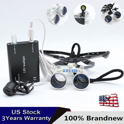 2.5X 420mm Dentistry Medical Magnifier Dental Binocular Surgical Loupe+Head Lamp