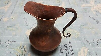 "Vintage Hammered Copper Pitcher 6"" Arts & Crafts"
