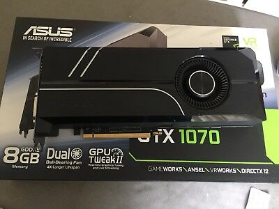 ASUS Turbo GeForce GTX1070 8GB G-SYNC AR MR VR Gaming PCIe Graphics Video Card