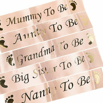 Rose Gold BABY SHOWER SASHES Mummy Nanny Aunty Big Sister & Grandma To Be Sash