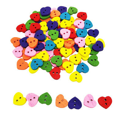 100pcs Mixed Colors Heart Love Wooden Sewing Buttons DIY Scrapbooking Craft