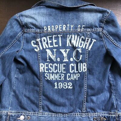 UNITED COLORS OF BENETTON Blue Jean BkGraphic Denim Jacket Youth Size XXL 11-12