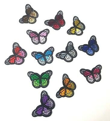 Monarch Butterfly Mini Small Embroidered Patch, Iron-On/Sew-On Applique Motif
