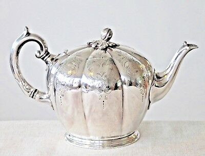 Antique victorian silver plated melon shaped teapot 1880-1900