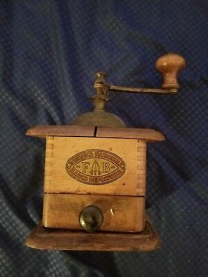 Antique Lander's ,frary, Clark Coffee Grinder Wood And Cast Iron