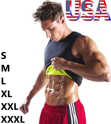 Men's Gym Neoprene Vest Sauna Ultra Sweat T-Shirt Body Shaper Slimming Cincher