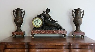 French Antique Figurine Clock with Garnitures c.1800's
