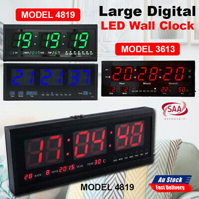 Digital Home Temperature Large Big Jumbo LED Wall Desk Clock With Calendar