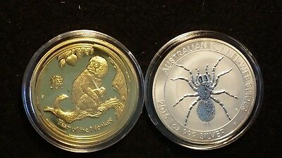 2016 gold finish YEAR OF THE MONKEY & 2015  SILVER finish FUNNEL WEB tokens # 9