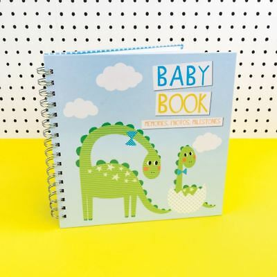 Blue Baby Memory Photo Book with Dinosaur Milestones New Baby Gift